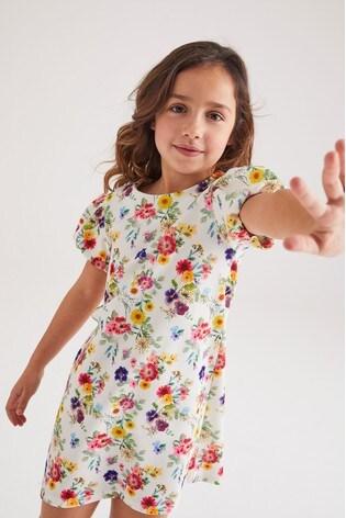 Ecru Floral Occasion Dress (3-16yrs)