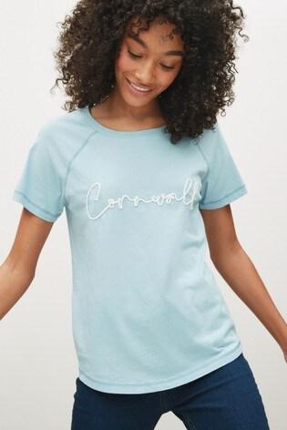 Blue Cornwall Graphic Raglan T-Shirt