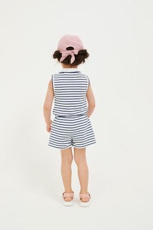 Navy Stripe Organic Cotton Playsuit (3mths-7yrs)