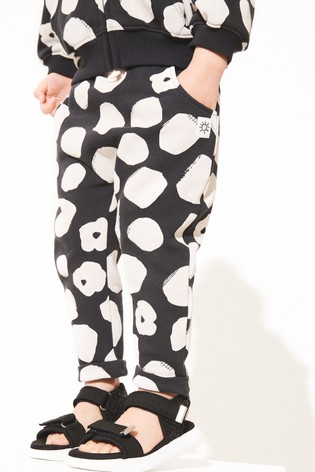 Black & White Spot Joggers Soft Touch Jersey (3mths-7yrs)