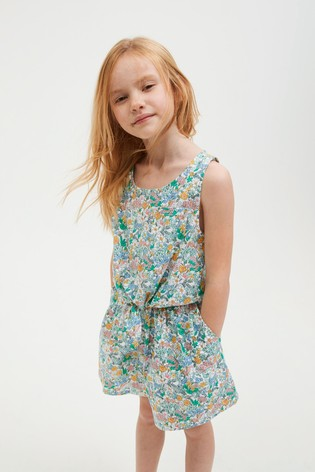 Blue Ditsy Tie Front Blouse And Shorts Co-ord Set (3-16yrs)