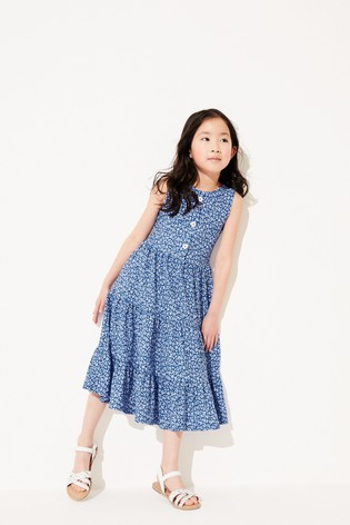 Blue Texture Tiered Maxi Dress (3-16yrs)