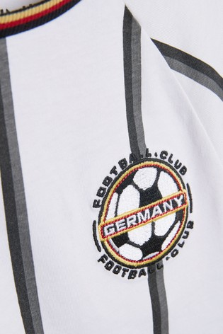 White Stripe Germany Football Short Pyjamas (3-16yrs)