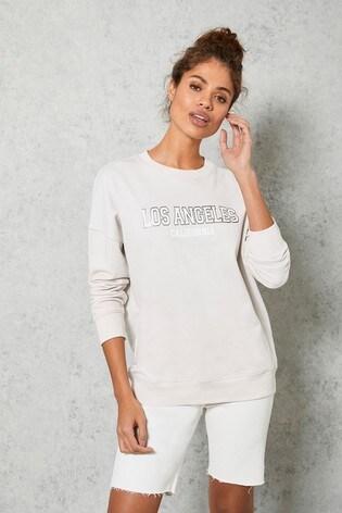 Mint Velvet Pale Pink Slogan Sweatshirt