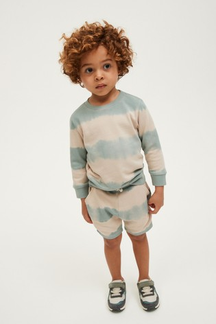 Mineral Tie Dye Jersey Crew And Shorts Set (3mths-7yrs)