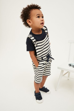 Navy Stripe Jersey Short Dungarees And T-Shirt Set (3mths-7yrs)