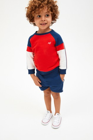 Red/Blue Jersey Colourblock Crew And Shorts Set (3mths-7yrs)