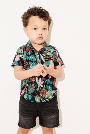 Black Jungle Print Shirt Cotton Short Sleeve (3mths-7yrs)