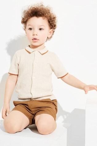 Ecru Knitted Button Through Polo (3mths-7yrs)