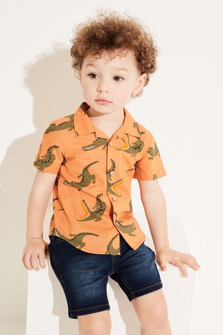 Orange Crocodile Print Shirt Cotton Short Sleeve (3mths-7yrs)