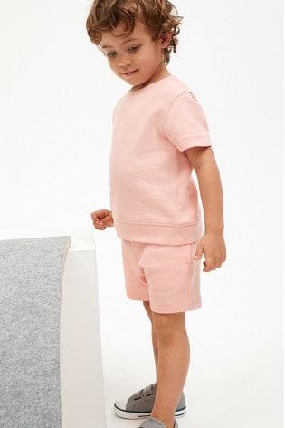 Blush Plain Sweat T-Shirt And Shorts Set (3mths-7yrs)