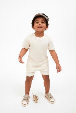 Ecru Plain Sweat T-Shirt And Shorts Set (3mths-7yrs)