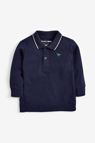 Navy Long Sleeve Plain Polo Shirt (3mths-7yrs)