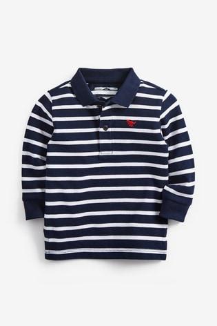 Navy/White Stripe Long Sleeve Polo Shirt (3mths-7yrs)