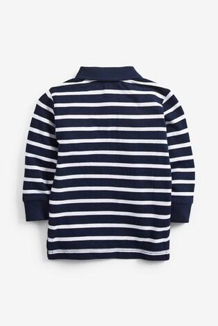 Navy Long Sleeve Stripe Polo Shirt (3mths-7yrs)