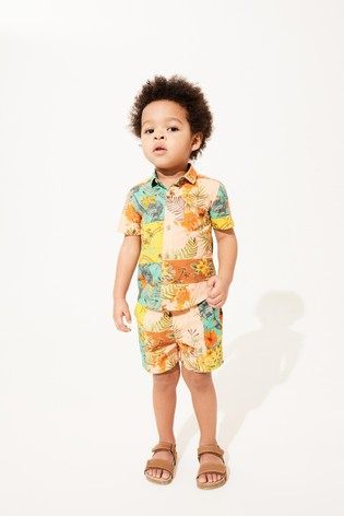 Hawaiian Splice Print Shirt & Short Set Cotton Short Sleeve (3mths-7yrs)