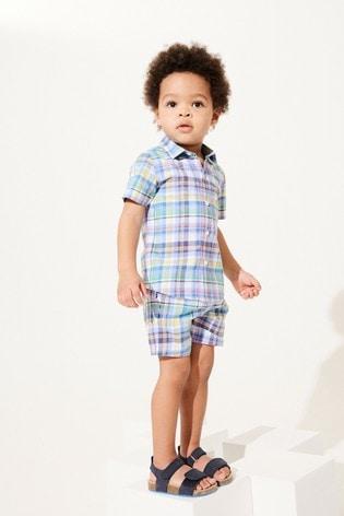 Rainbow Check Shirt & Short Set Cotton Short Sleeve (3mths-7yrs)