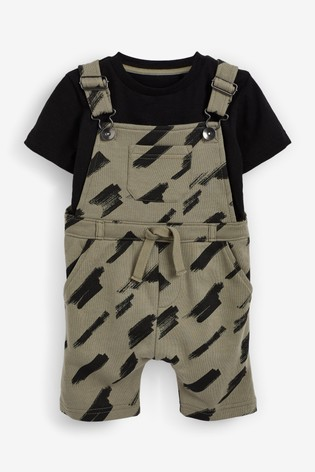 Khaki Print Jersey Short Dungarees And T-Shirt Set (3mths-7yrs)