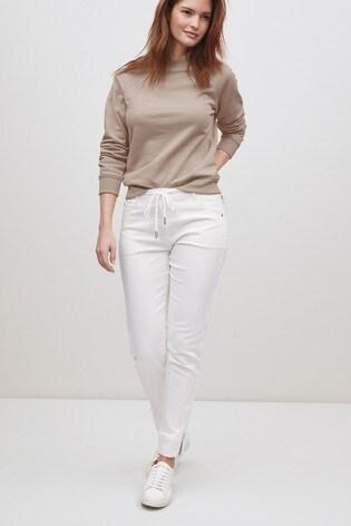 White Soft Stretch Jersey Denim Joggers