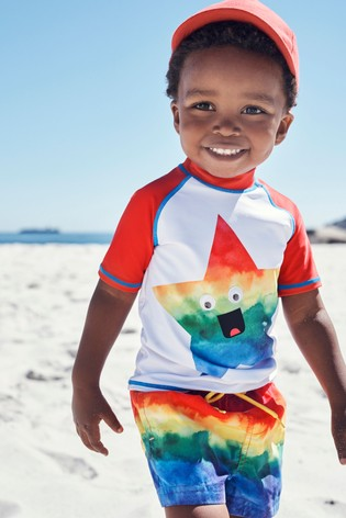 Rainbow Star Rash Vest And Shorts Set (3mths-7yrs)