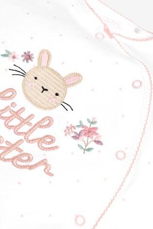 Pink Bunny Little Sister Sleepsuit (0-18mths)