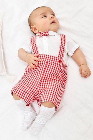 Red Smart Shirt Bodysuit, Shorts And Sock Set (0mths-3yrs)