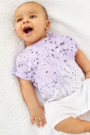 Lilac Splat Single Printed T-Shirt Romper (0mths-3yrs)