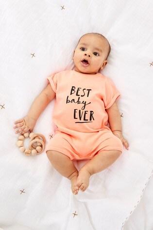 Fluro Slogan Single Printed T-Shirt Romper (0mths-3yrs)