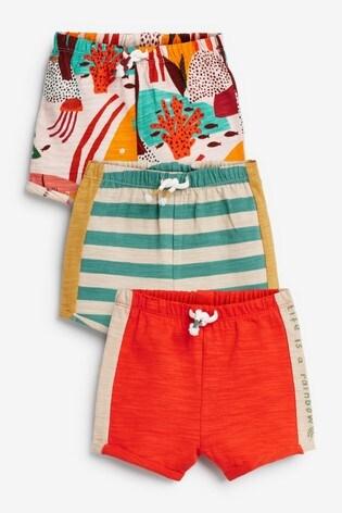 Orange 3 Pack Shorts (0mths-2yrs)