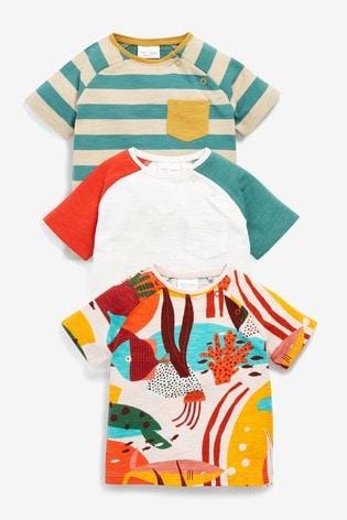 Orange 3 Pack Character Stretch T-Shirts (0mths-3yrs)