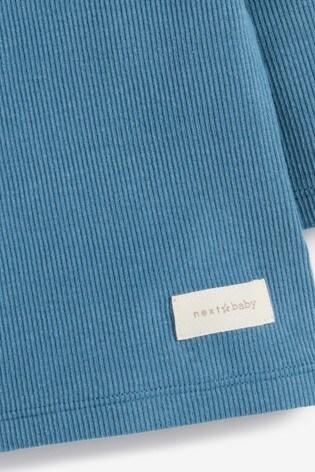Blue 4 Piece Rib T-Shirt, Legging, Bib And Sock Set (0mths-2yrs)