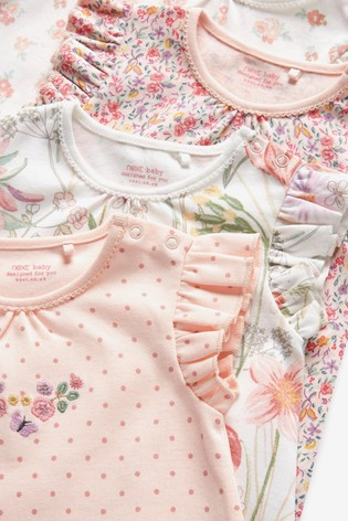 Pink 4 Pack Pretty Pink Rompers (0mths-3yrs)