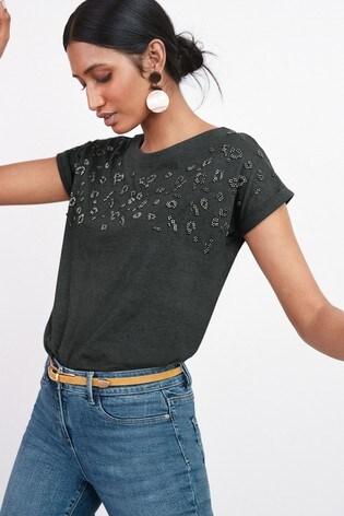 Charcoal Beaded Animal Curved Hem T-Shirt