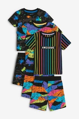 Multi Bright Camo 3 Pack Short Pyjamas (9mths-12yrs)