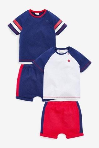 Blue/White 4 Piece Organic Cotton T-Shirt And Shorts Set (0mths-2yrs)