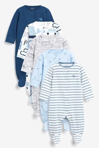 Blue Cars 5 Pack Printed Sleepsuits (0-2yrs)