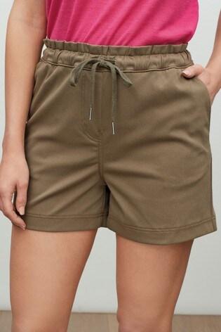 Khaki Jersey Denim Run Shorts