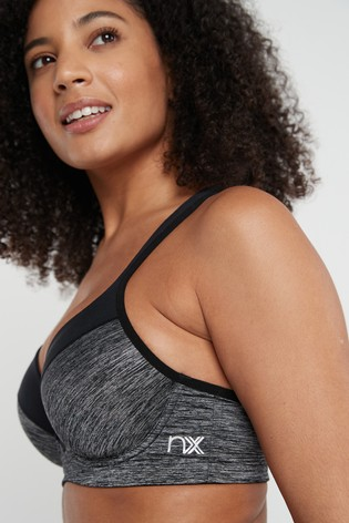 Grey Marl Sports High Impact Full Cup Wired Bra