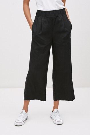 Black Linen Blend Slouch Culottes
