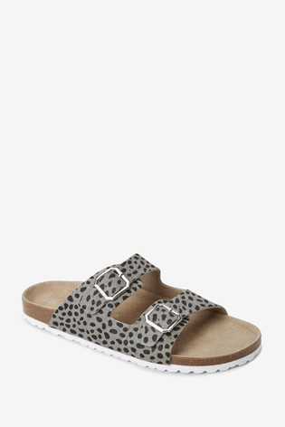 Grey Animal Two Band Footbed Mules