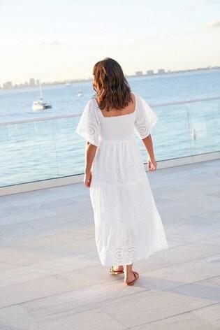 White Broderie Maxi Dress