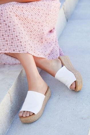 White Mule Flatform Sandals