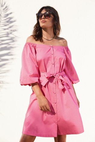 Bright Pink Puff Sleeve Square Neck Dress