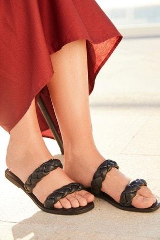 Black Regular/Wide Fit Forever Comfort® Plaited Mule Sandals
