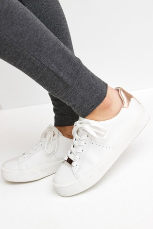 White With Rose Gold Regular/Wide Fit Signature Chunky Leather Lace-Up Trainers
