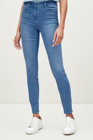 Bright Blue Soft Stretch Jersey Denim Skinny Jeans