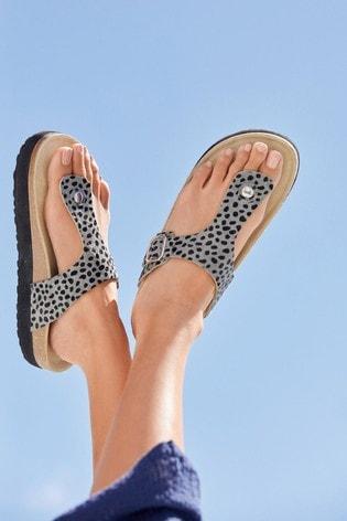 Grey Animal Forever Comfort® Flatform Toe Post Footbed Sandals