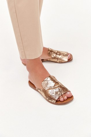 Gold Regular/Wide Fit Slipper Mule Sandals