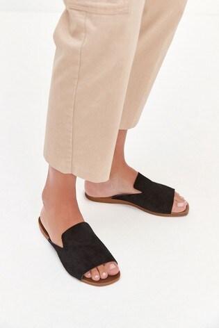 Black Regular/Wide Fit Slipper Mule Sandals
