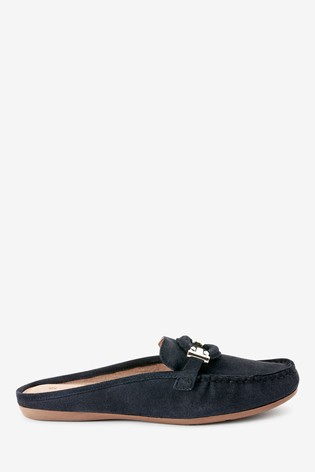 Navy Driver Mule Shoes